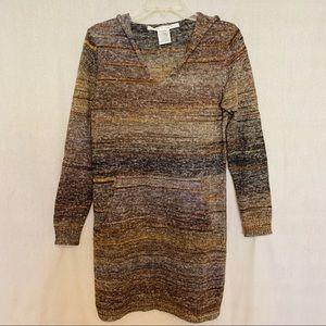 Max Studio Sweater Dress Brown Tan Black Small